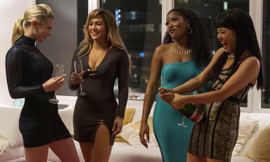 Lili Reinhart, Jennifer Lopez, Keke Palmer, and Constance Wu in Hustlers, a giddy, gaudy blast of a movie.