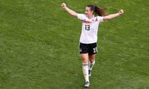 Germany's Sara Dâbritz celebrates after the match.