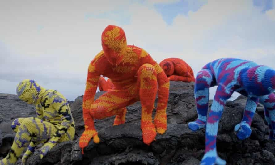 Provocative … crocheted camouflage suits by Polish artist Olek