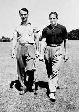 21 April 1949. Arnold Palmer, left, with Frank Stranahan at the 49th North and South amateur golf tournament in Pinehurst, North Carolina.