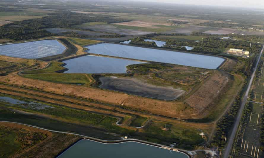 On Saturday, the reservoir near the Old Piney Point Phosphate Mine can be seen from the air.