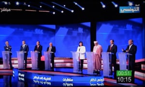Candidates at a TV debate for Tunisian presidential candidates on 7 September.