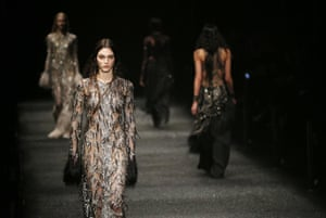 Models on the catwalk at the Alexander McQueen show.