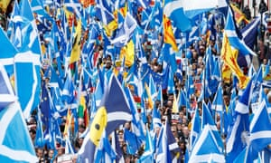 Thousands of  Scots march at an independence rally in Glasgow in May 2019