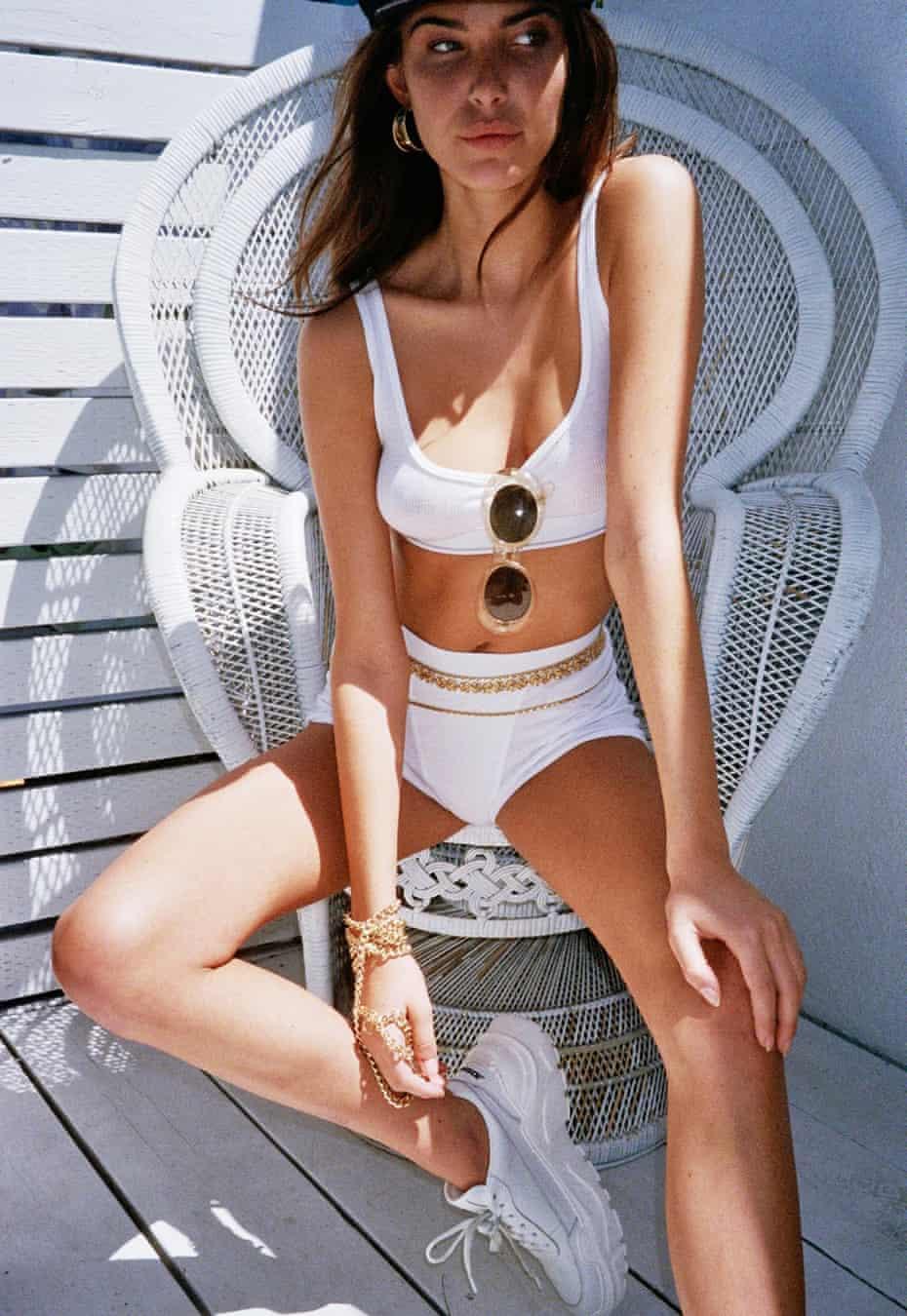 Charlotte D'Alessio in a white bikini.