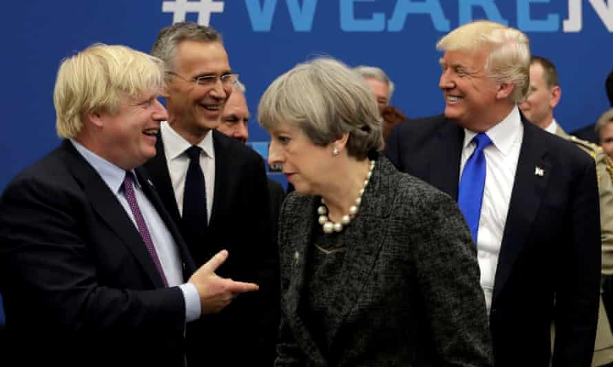 Boris Johnson and Theresa May with Donald Trump