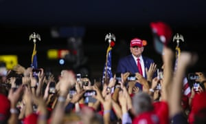 Trump at a rally in Miami on Sunday night. 'This story is FALSE,' the president tweeted on Monday. 'They did nothing wrong.'