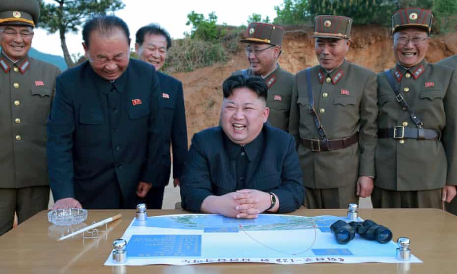 Kim Jong-un at a missile test launch,