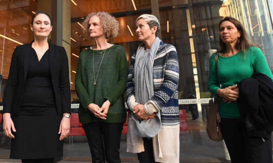 (L to R) Lawyer Rebecca Jancauskas joins members of the class action against Johnson & Johnson: Gai Thompson, Joanne Maninon and Carina Anderson outside the federal court in Sydney on Tuesday.