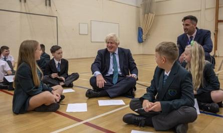 Boris Johnson at Castle Rock school in Coalville.