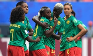 Ajara Nchout (centre) is distraught after her goal against England is disallowed via a VAR decision.