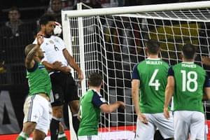 Sami Khedira heads home Germany's second goal.