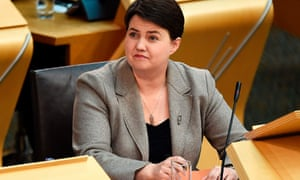 Scottish Conservatives leader Ruth Davidson listens as Scotland's First Minister in the chamber at the Scottish Parliament in Edinburgh.