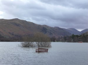 Flooding at Ullswater in the Lake District, Cumbria, 10 December