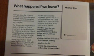 A card from Cards Against Humanity and the pro-EU pamphlet. They spell out: 'What happens if we leave? MechaHitler.