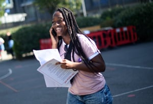 Ranita Addo reacts after opening her results at the City academy in Hackney