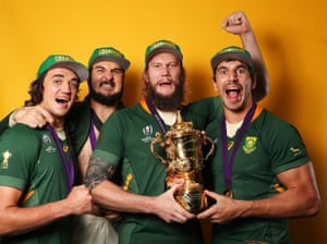 Franco Mostert, Lodewyk de Jager, RG Snyman and Eben Etzebeth of South Africa pose with the trophy.