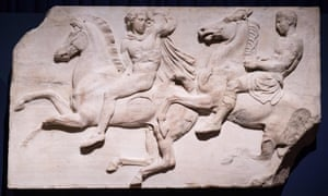 A section of marble frieze sculpture (438-432 BC) from The Parthenon in Athens, part of the collection that is popularly referred to as the Elgin Marbles at the British Museum