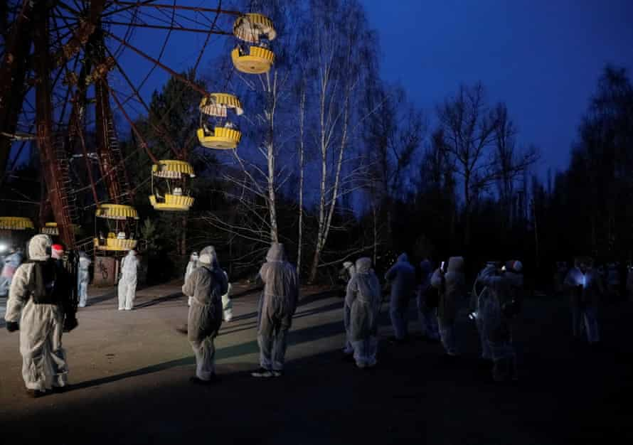 Frozen … the ghostly ferris wheel at Pripyat's abandoned carnival.