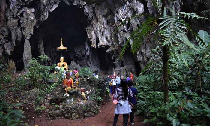 Visitors at the Tham Luang cave complex, Thailand. Image: Ronan O'Connell