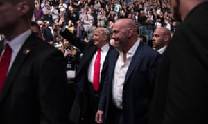 Donald Trump and Dana White arrive at Madison Square Garden to attend the UFC 244 mixed martial arts fights Saturday in New York City.
