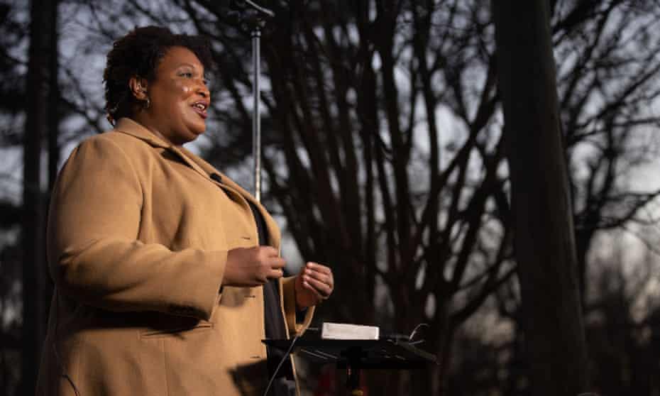 Stacey Abrams in Atlanta, Georgia, on 5 January.