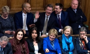 Independent MPs in the House of Commons during prime minister's questions 20 February 2019.