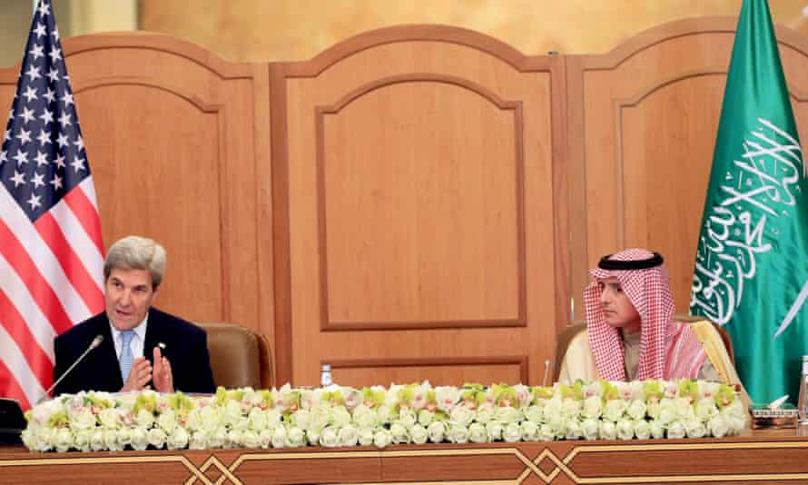 John Kerry speaks during a press conference with the Saudi foreign minister, Adel al-Jubeir, in Riyadh.