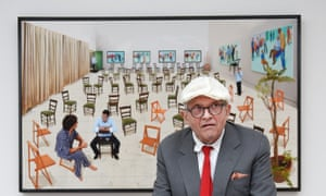 British artist David Hockney poses in the exhibition of his new works Painting and Photography at the Annely Juda fine art gallery in London.
