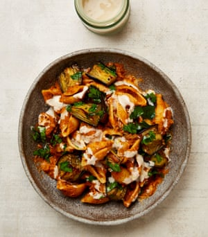 Yotam Ottolenghi's pasta shells with burnt aubergine and tahini.
