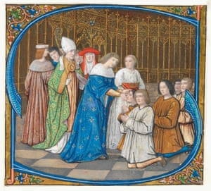 Historiated initial from a Gradual, Louis XII healing the sick (c. 1500) Paris, Northern France