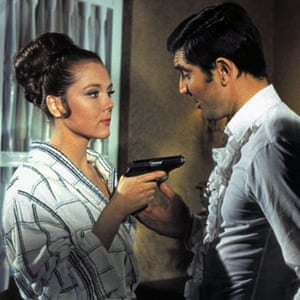 Diana Rigg as Contessa Teresa (Tracy) di Vicenzo and George Lazenby' as James Bond in On Her Majesty's Secret Service, 1969