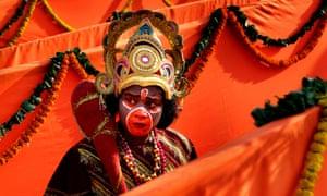 A man dressed as Hindu monkey god Hanuman during a meeting of the World Hindu Council