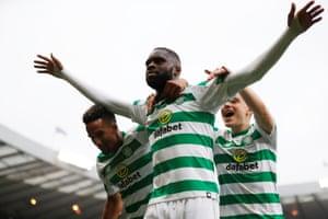 Celtic's Odsonne Edouard celebrates scoring their second.