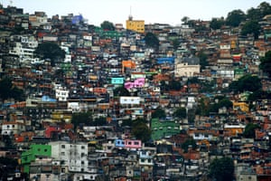 A general view of the Rocinha favela as the England team visit Complexo Esportivo da Rocinha