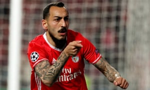 Benfica's Kostas Mitroglou celebrates after scoring the opening goal.