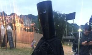 Lord Buckethead backstage at Glastonbury.