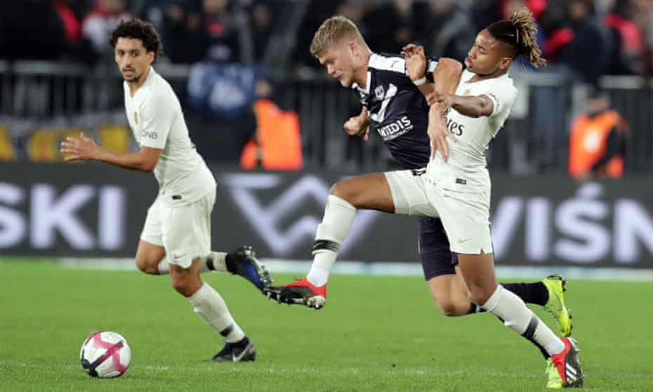Bordeaux's forward Andreas Cornelius (blue shirt) scored his club's second equaliser as they became the first club this season to deny Paris Saint-Germain victory in the league.