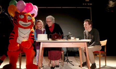 Storystock Festival BatterseaJudith Kerr and Benedict Cumberbatch during a reading of the Tiger Who Came to Tea, accompanied by Kitty Forbes, 7, dressed as the character Sophie, to celebrate the 50th anniversary of the book at the Storystock Festival at Circus West Village, Battersea Power Station, Battersea, London. PRESS ASSOCIATION Photo. Picture date: Tuesday February 13, 2018. See PA story ARTS Book. Photo credit should read: Gareth Fuller/PA Wire