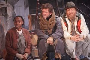 Rakie Ayola (Noni), Jason Hughes (Captain) and-Rhys Ifans-(John-Daniel) in On Bear Ridge.