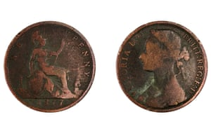 British penny coin dated 1877 (with Queen Victoria on the reverse), isolated on white