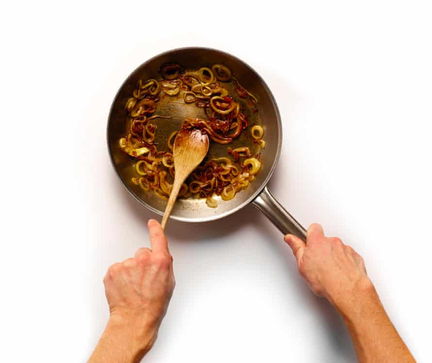 Onions in a frying pan