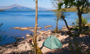 Camping at Balmaha on the banks of Loch Lomond, Scotland.