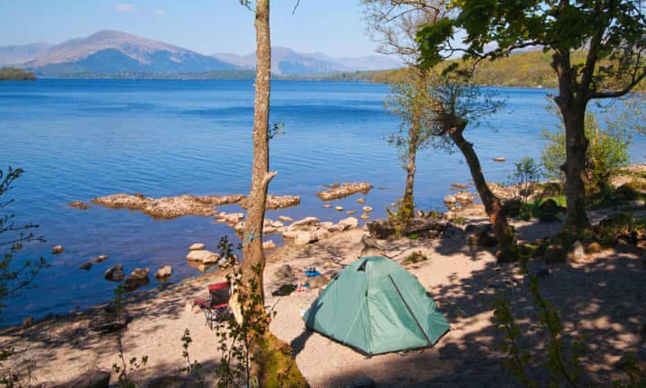 Camping at Balmaha on the banks of Loch Lomond, Scotland.