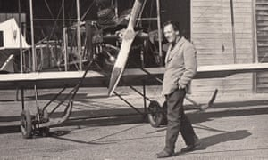Derek Piggott in front of a Bristol Boxkite that was used in the 1964 film Those Magnificent Men in Their Flying Machines