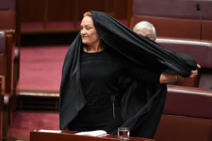 "One Nation senator Pauline Hanson removes a burqa during one of the more outrageous stunts ever witnessed in parliament. Hanson was seeking to have the burqa banned due to supposed national security concerns. She was swiftly rebuked by attorney general George Brandis who said: ""I would caution you and counsel you, Senator Hanson, with respect, to be very very careful of the offence you may do to the religious sensibilities of other Australians. We have about half a million Australians in this country of the Islamic faith, and the vast majority of them are law abiding, good Australians."""