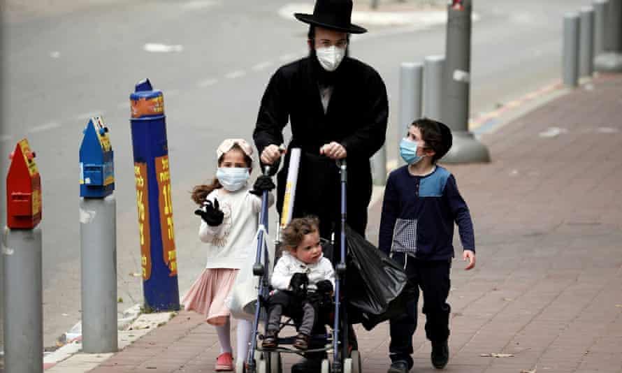 An ultra-Orthodox Jewish family in Bnei Brak.