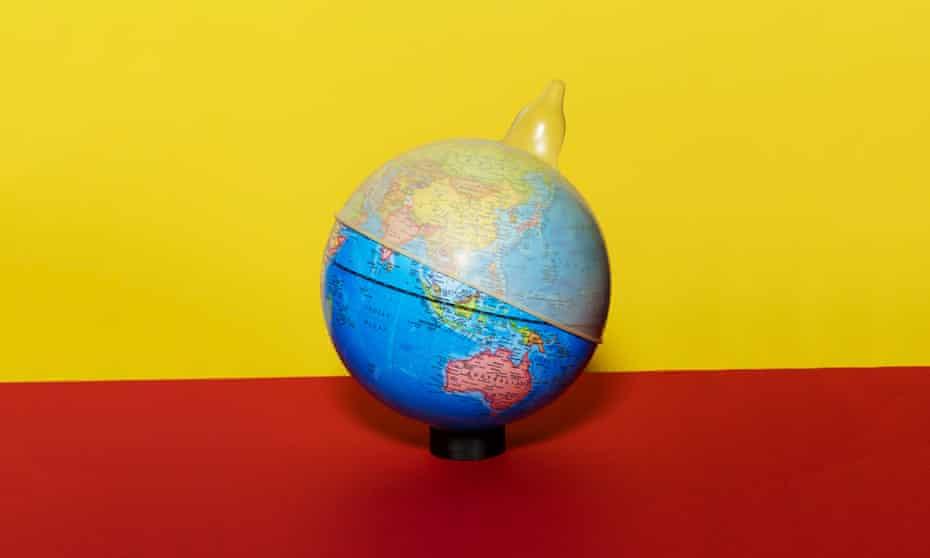 Globe wearing condom