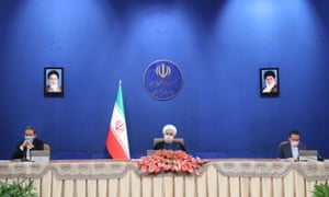 President Rouhani speaking during a socially distanced cabinet session in Tehran, Iran on Wednesday..