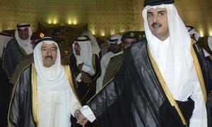 Kuwait's emir, Sheikh Sabah Al Ahmad Al Sabah, left, and Qatar's emir, Sheikh Tamim bin Hamad Al Thani, in Doha on Wednesday.